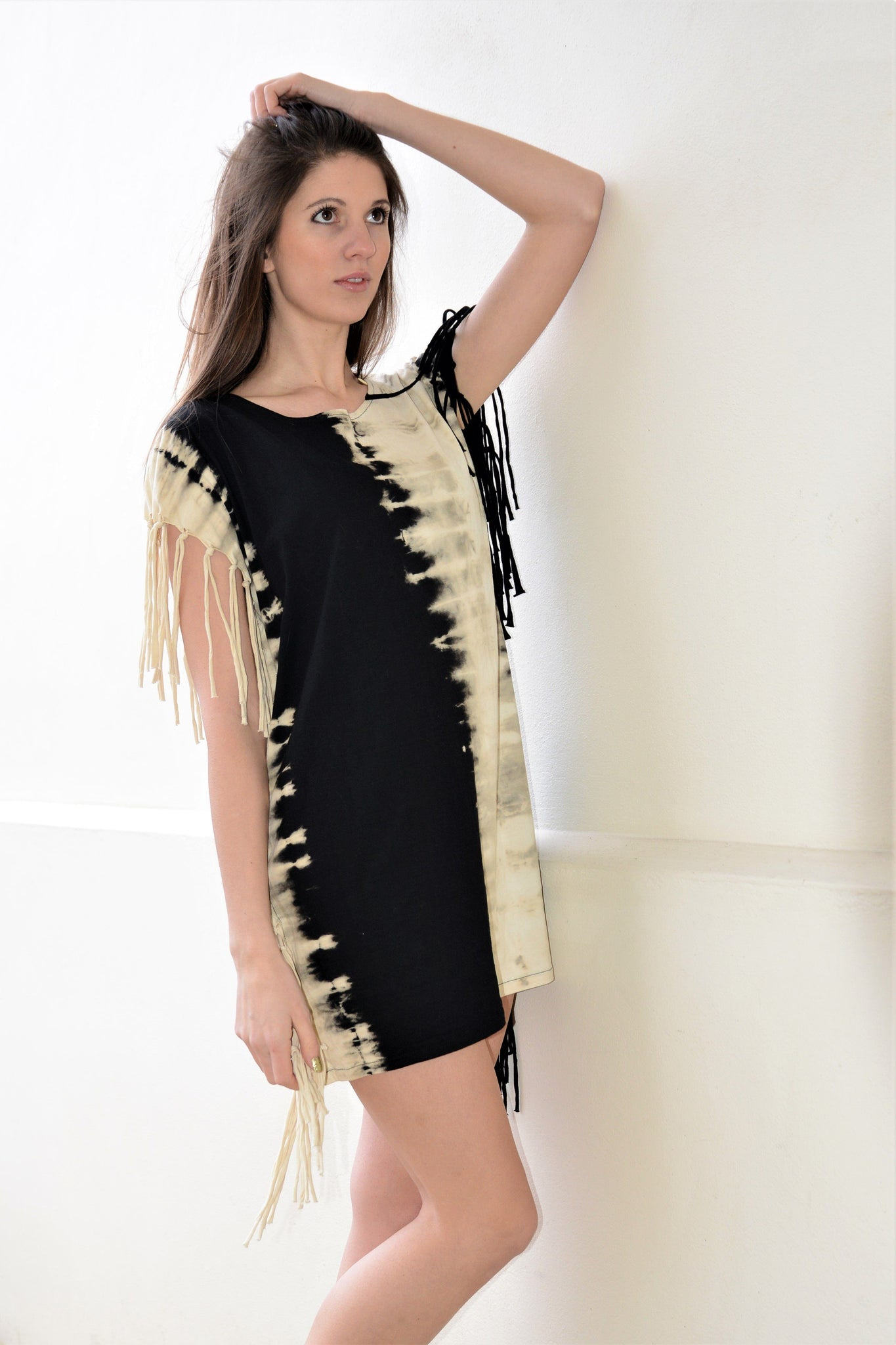 Tie Dye Short Dress with Fringed Black & White - CCCollections