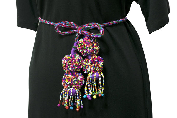Tribal Colourful Pom Pom Rope Belt Wrap - CCCollections
