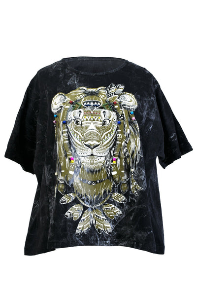 T-Shirt Animal Printed Embroidery Dye cotton - CCCollections