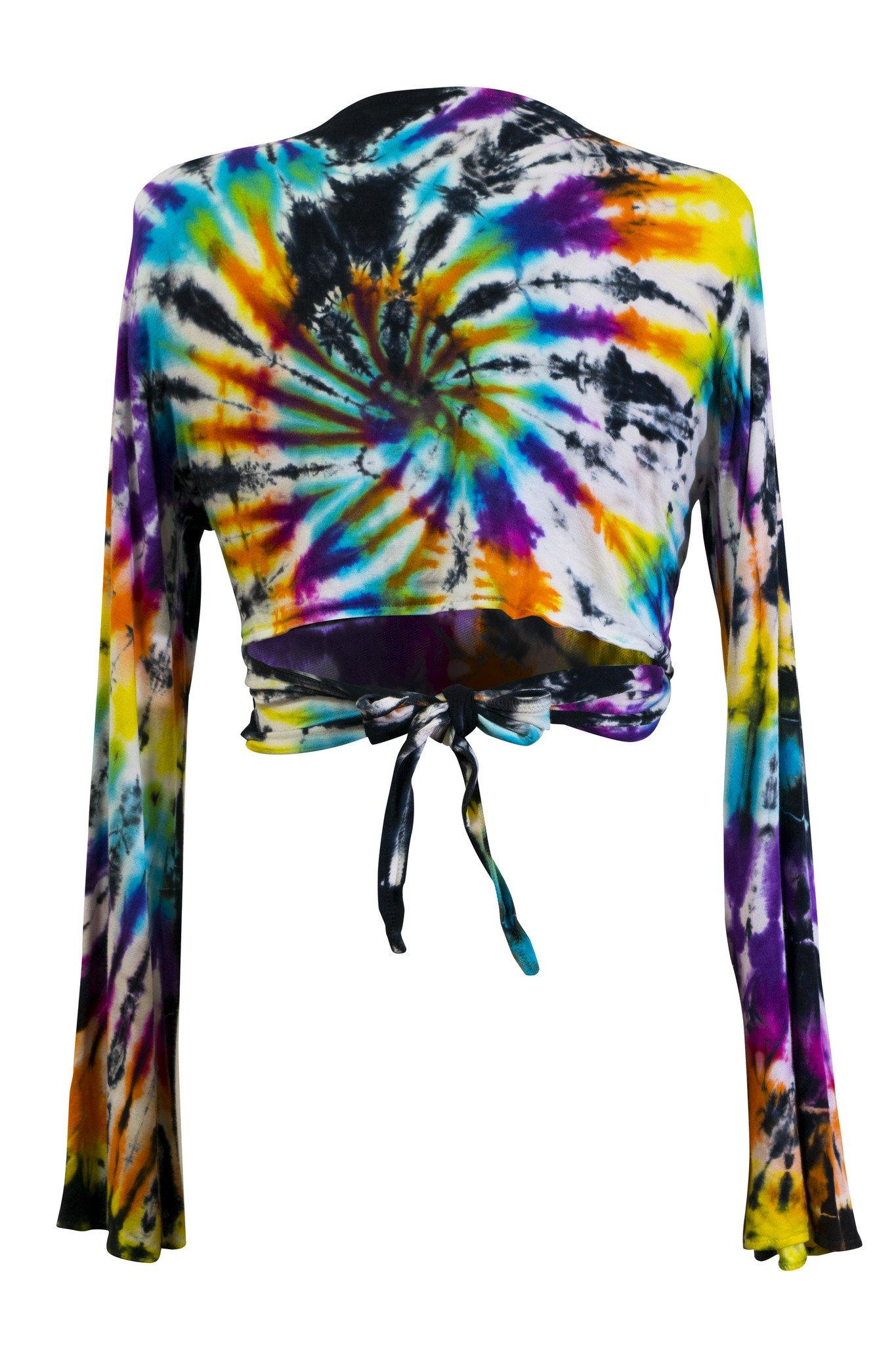 Tie Dye Crop Top Wrap Colourful Long Flare Sleeve Front Back Tied Cropped Top - CCCollections
