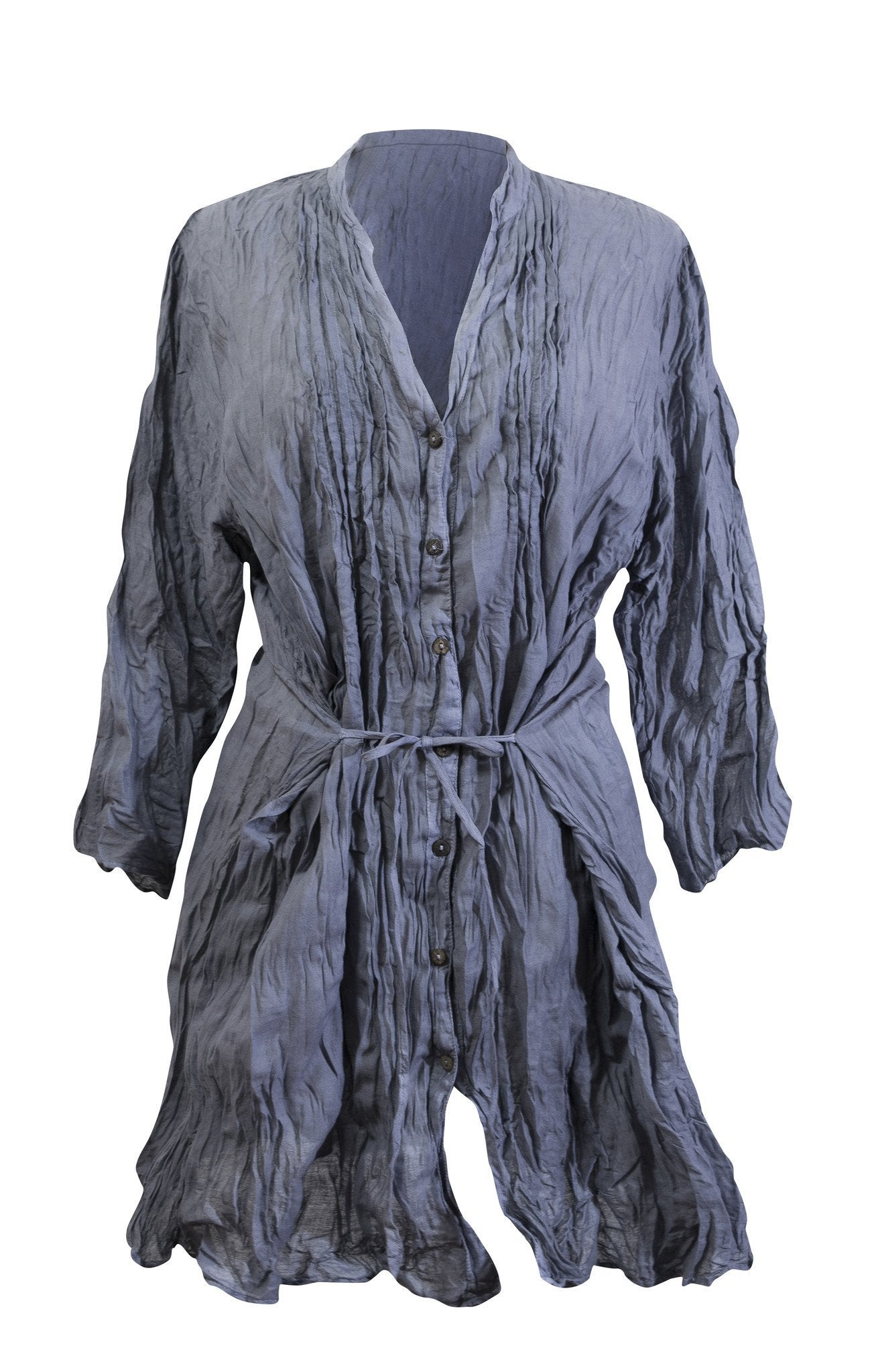 Cotton Shirt Dress Elbow Long Sleeve - CCCollections