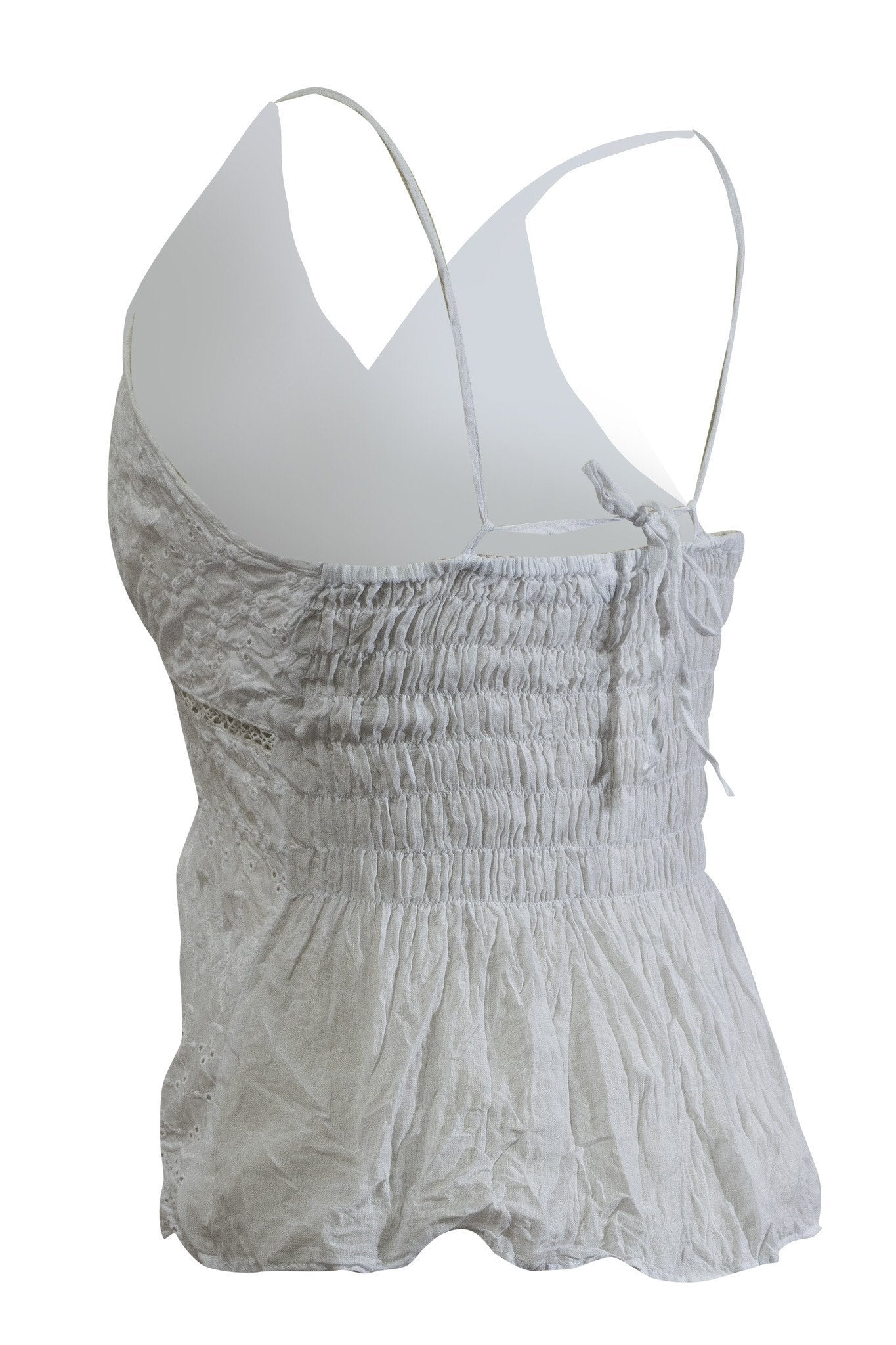 Cotton Strap Camisole Top V Neck White - CCCollections