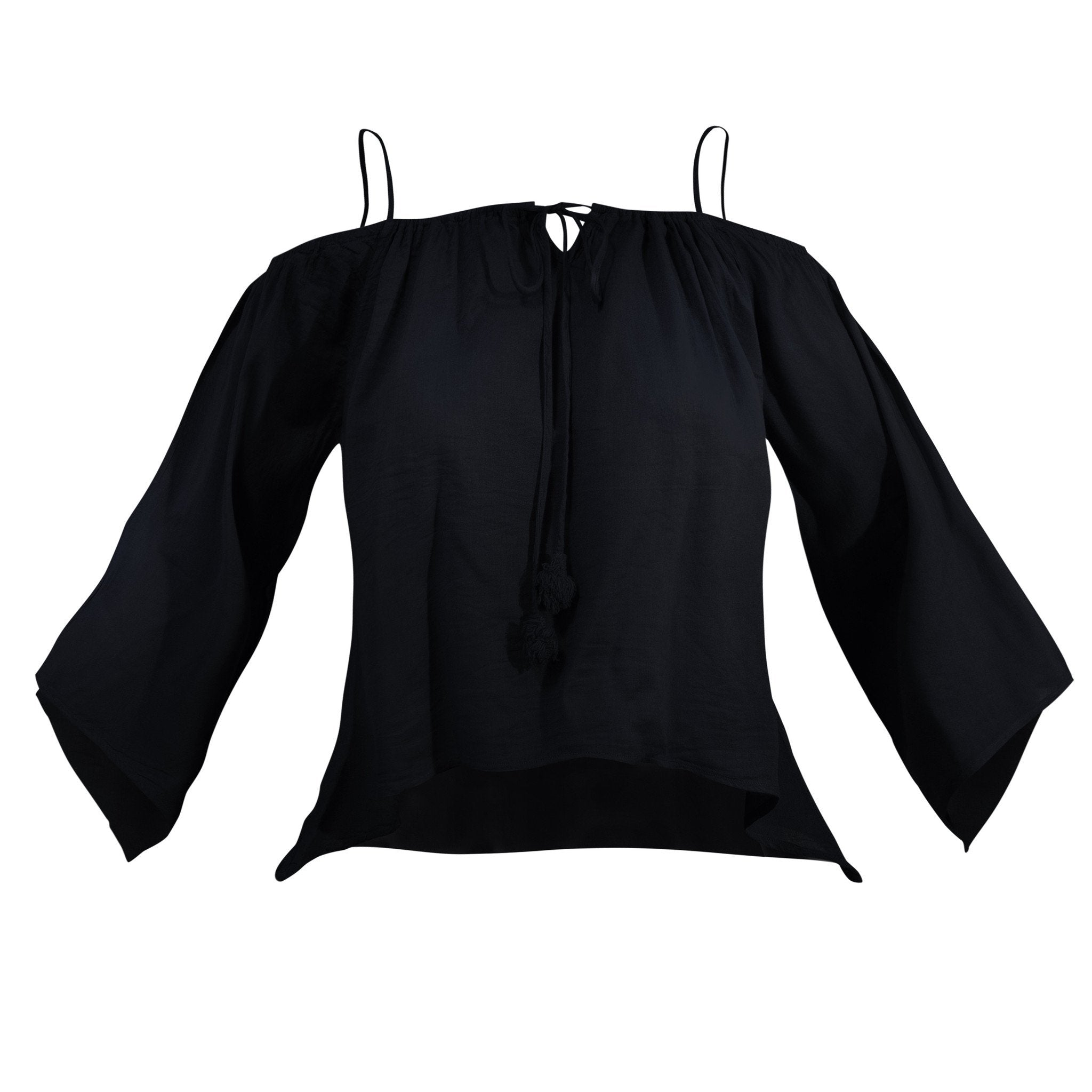 Cotton Top Open Shoulder Elbow long Sleeve - CCCollections