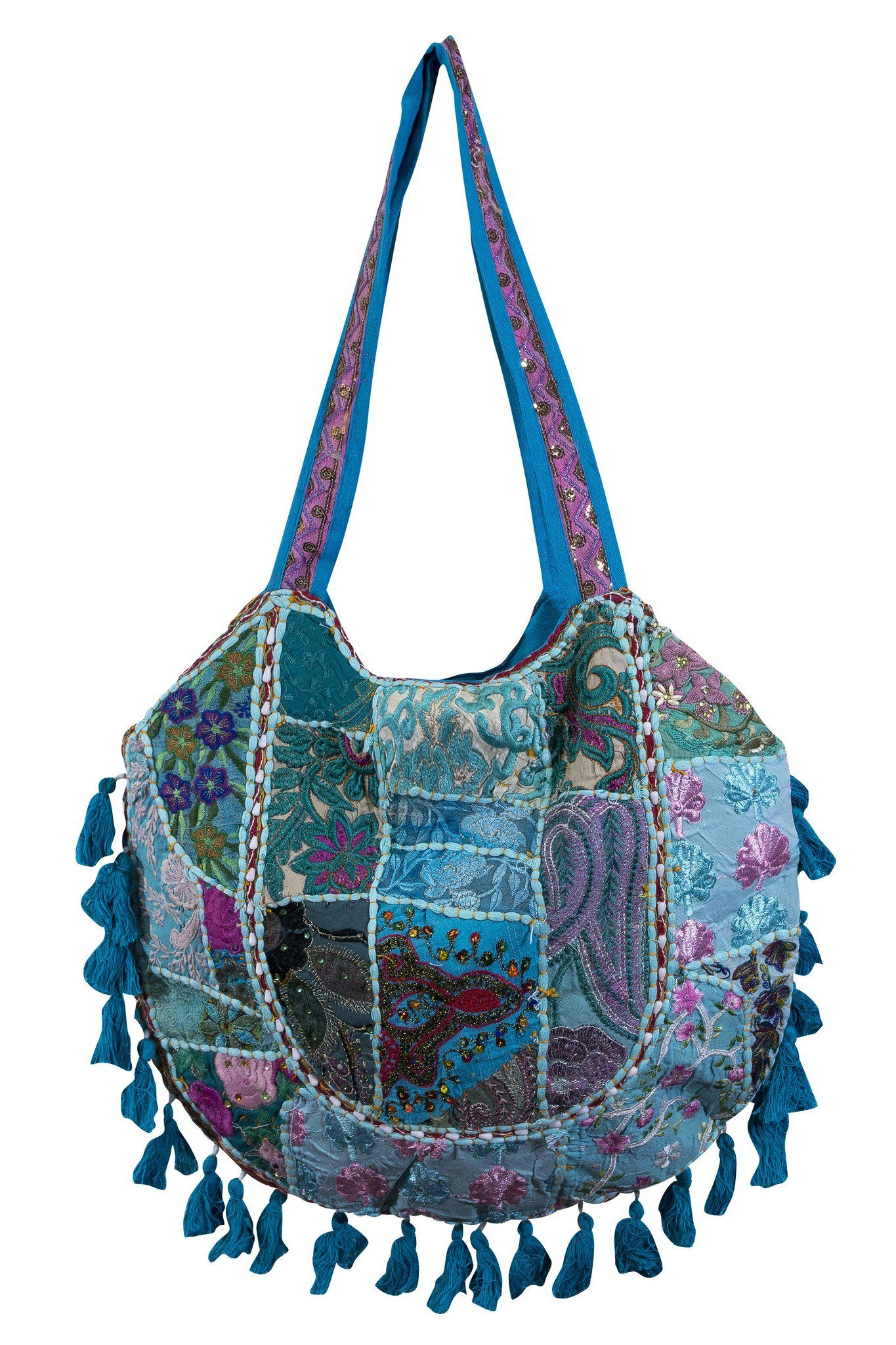 Blue Ethnic Indian style Embroidered Bag Shoulder Strap - CCCollections