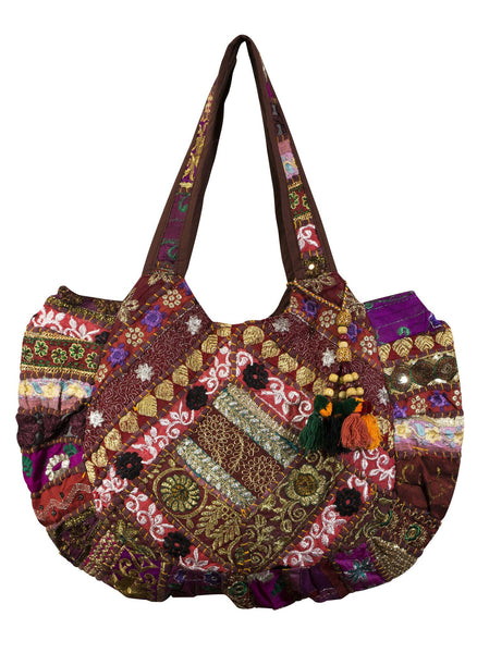 Red Ethnic Indian style Embroidered Bag Shoulder Strap - CCCollections