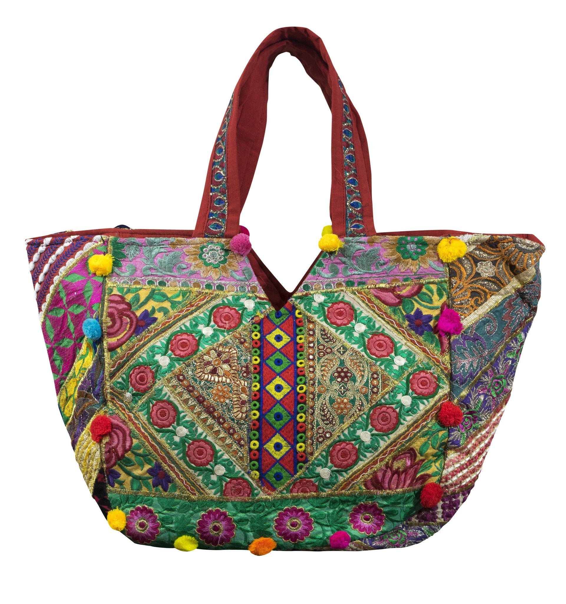 Stylish Ethnic Indian style Embroidered Mirror Bag Shoulder Strap - CCCollections