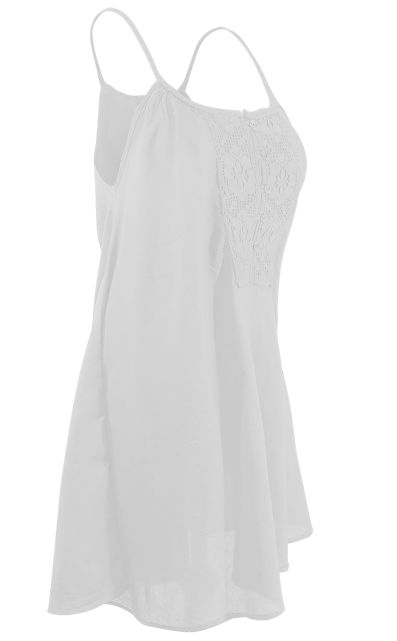 Cotton Dress Mini/Thigh Length Plait strap with Lace Front - CCCollections