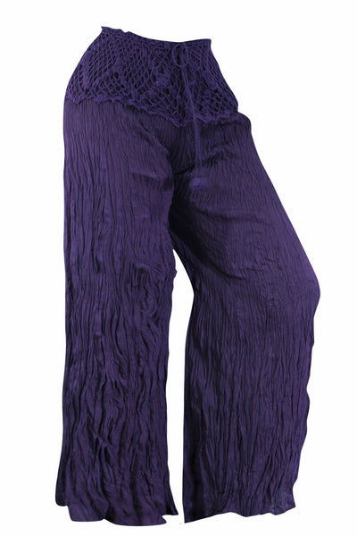 Cotton Palazzo Flare with Crochet Waist Trouser - CCCollections
