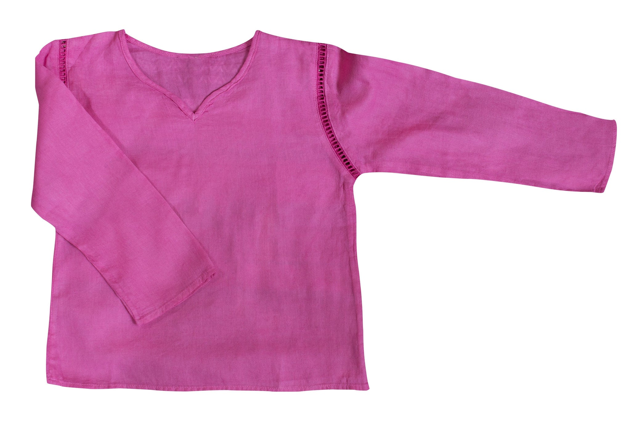 Kids Boy Girl Unisex Cotton Shirt Top V Neck 3/4 sleeve S Plain - CCCollections