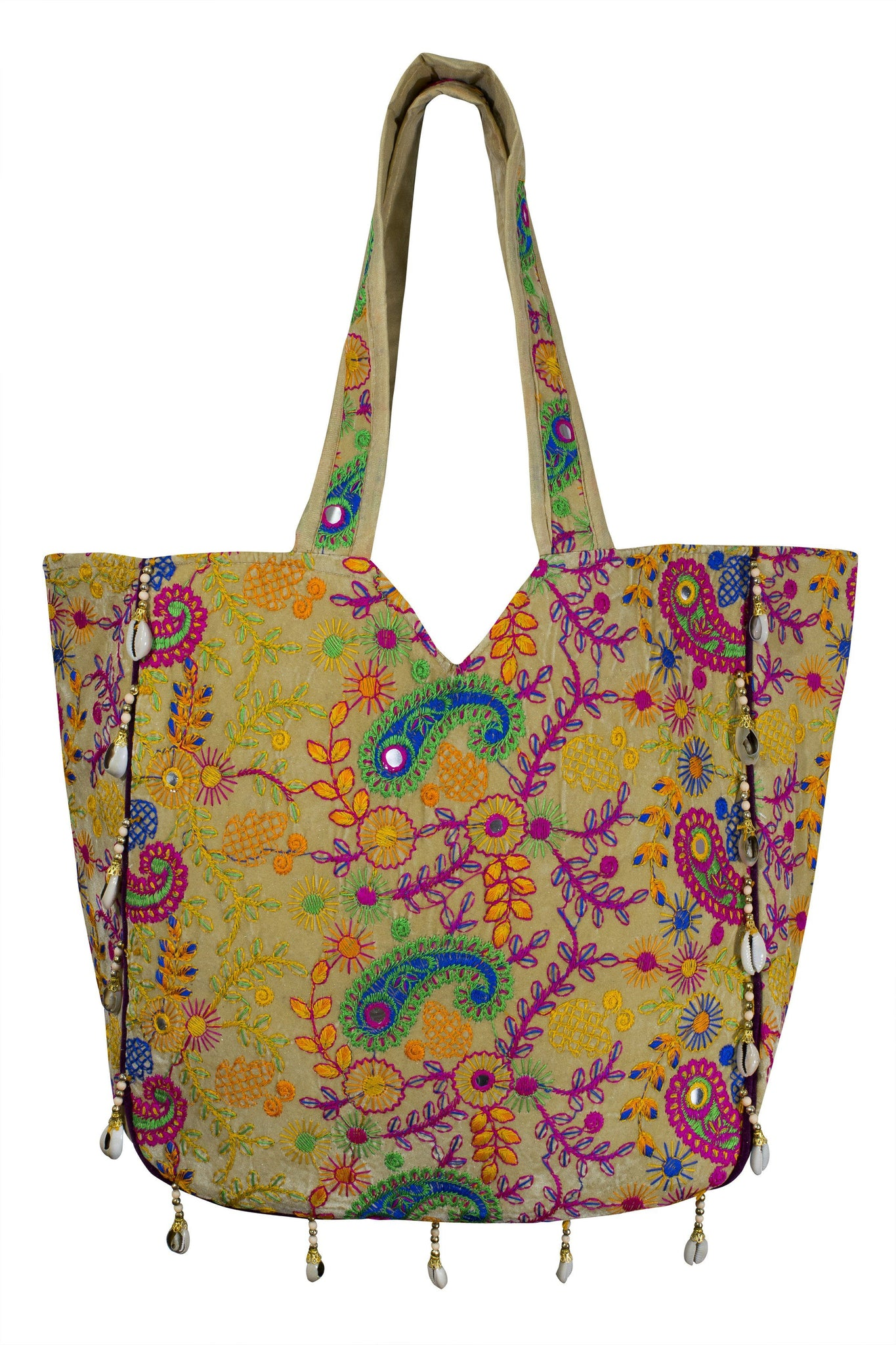 Ethnic Indian style Embroidered Bag Shoulder Strap Paisley - CCCollections