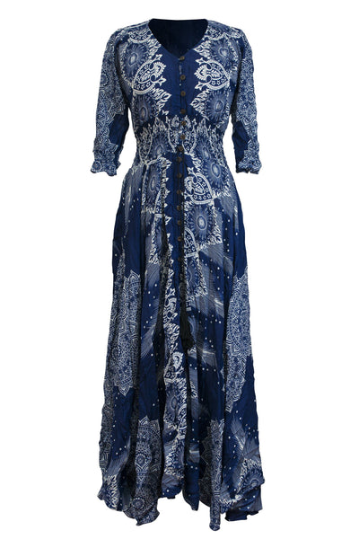 Printed Rayon Dress 3/4 Sleeve Mandala Casual Maxi Dress - CCCollections