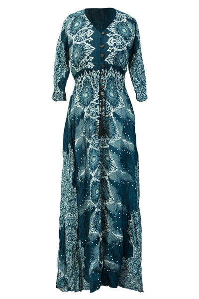 Printed Rayon Dress 3/4 Sleeve Mandala Casual Maxi Dress Beachwear Bohemian - CCCollections