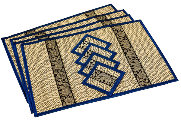 Luxury Large Reed Placemat & Coasters Eco Friendly Handmade, Heat Resistant, Easy to wipe clean, Placemat Coaster 4 sets, 2 sizes sustainable Kitchen craft  Dining table mat with natural reed material by artisan - CCCollections