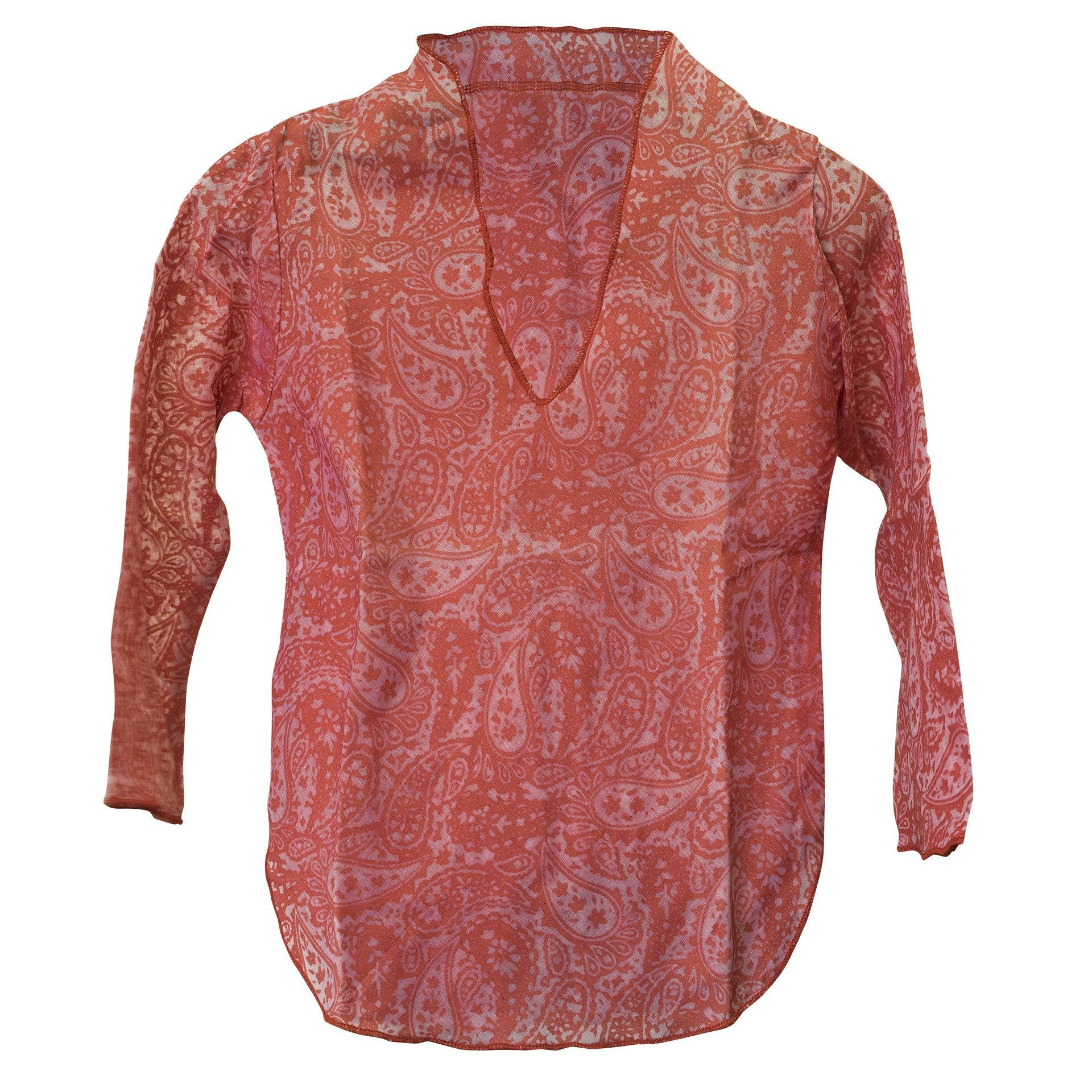 Kids Boy Girl Unisex Cotton Shirt Top V Neck 3/4 sleeve M Paisley - CCCollections