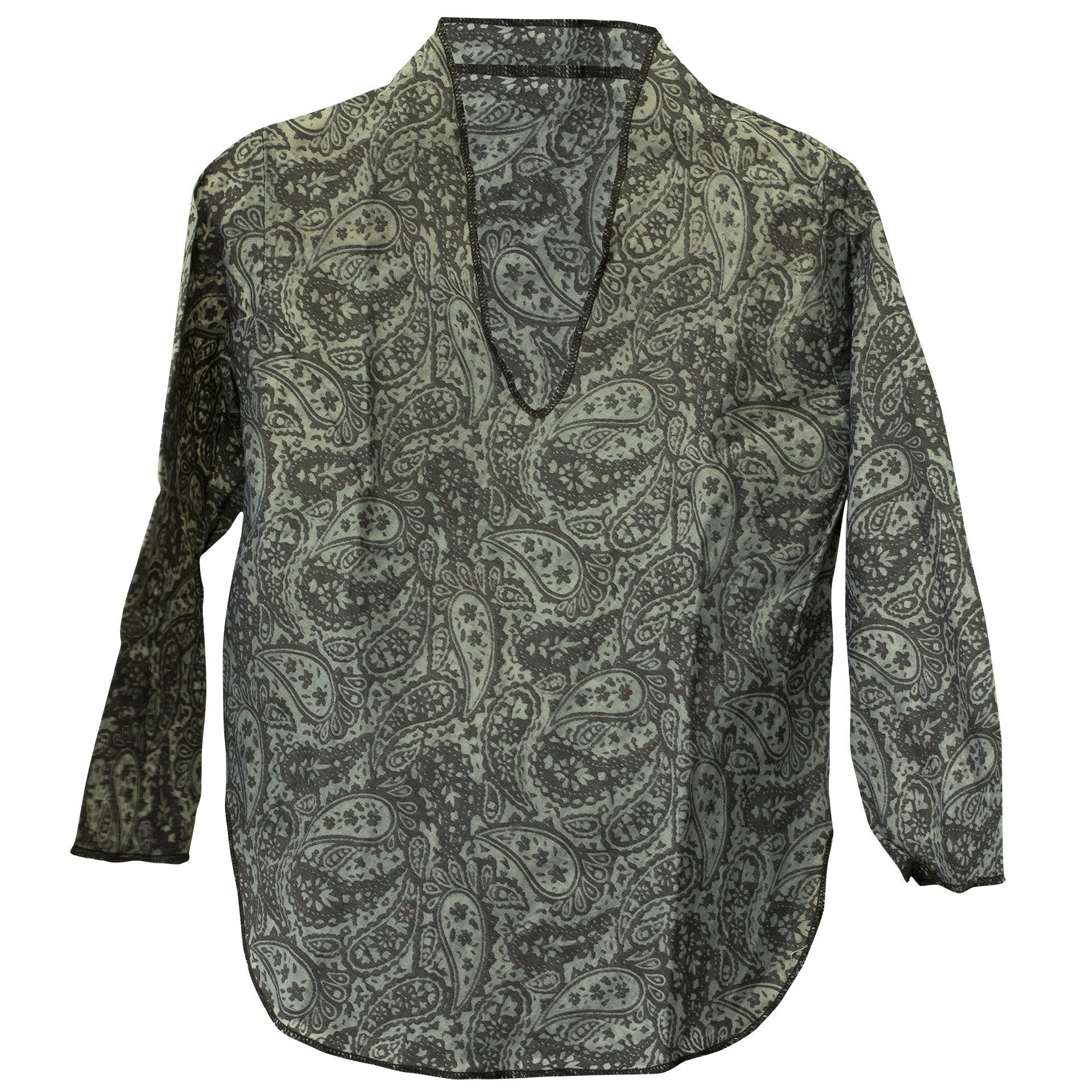 Kids Boy Girl Unisex Cotton Shirt Top V Neck 3/4 sleeve S Paisley - CCCollections