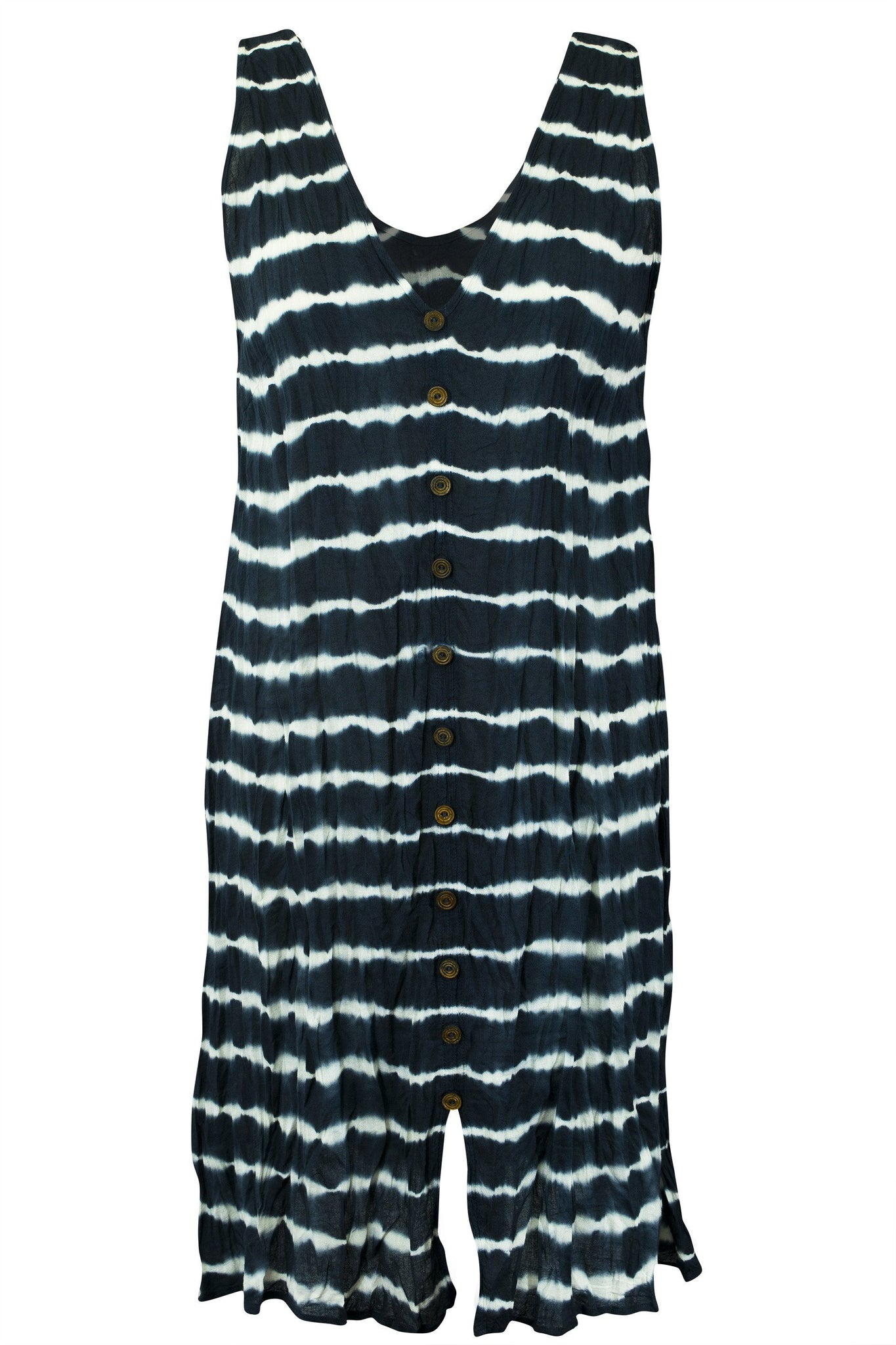 Cotton Sleeveless Tunic Dress Wood Button Stripe Tie Dye - CCCollections