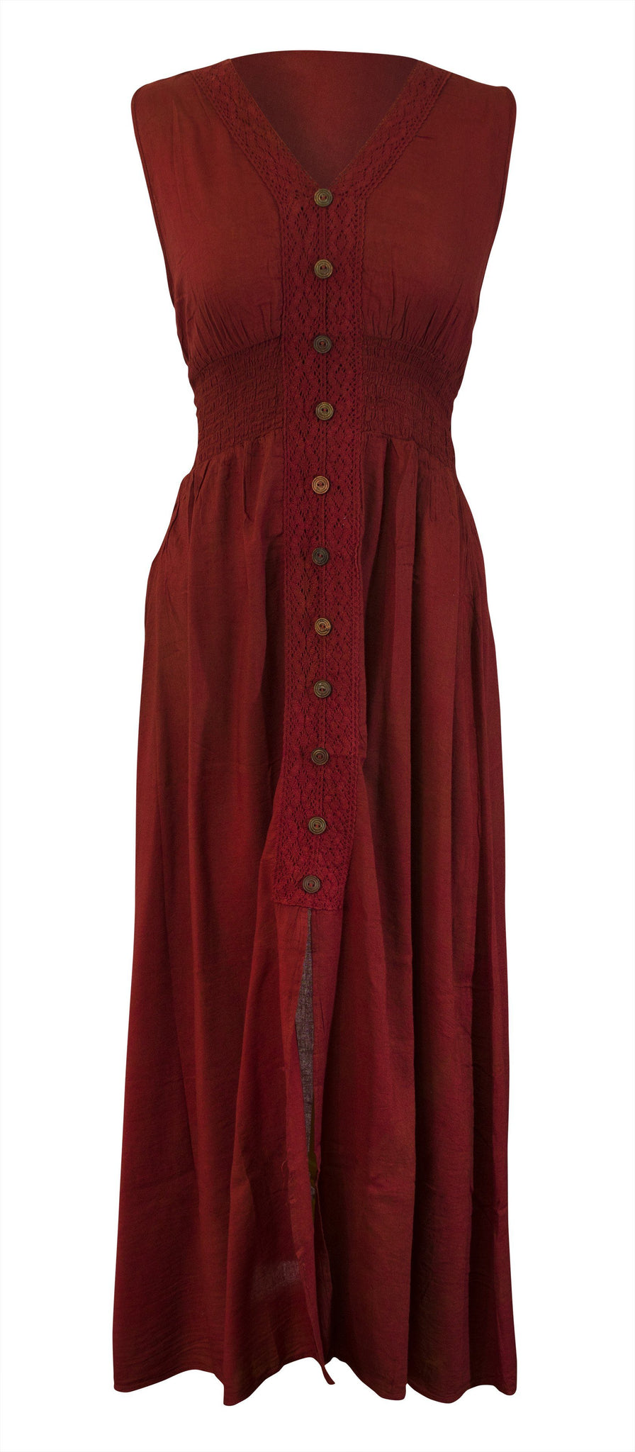 Cotton Maxi Dress Smocked Waist V Neck Wood Button - CCCollections