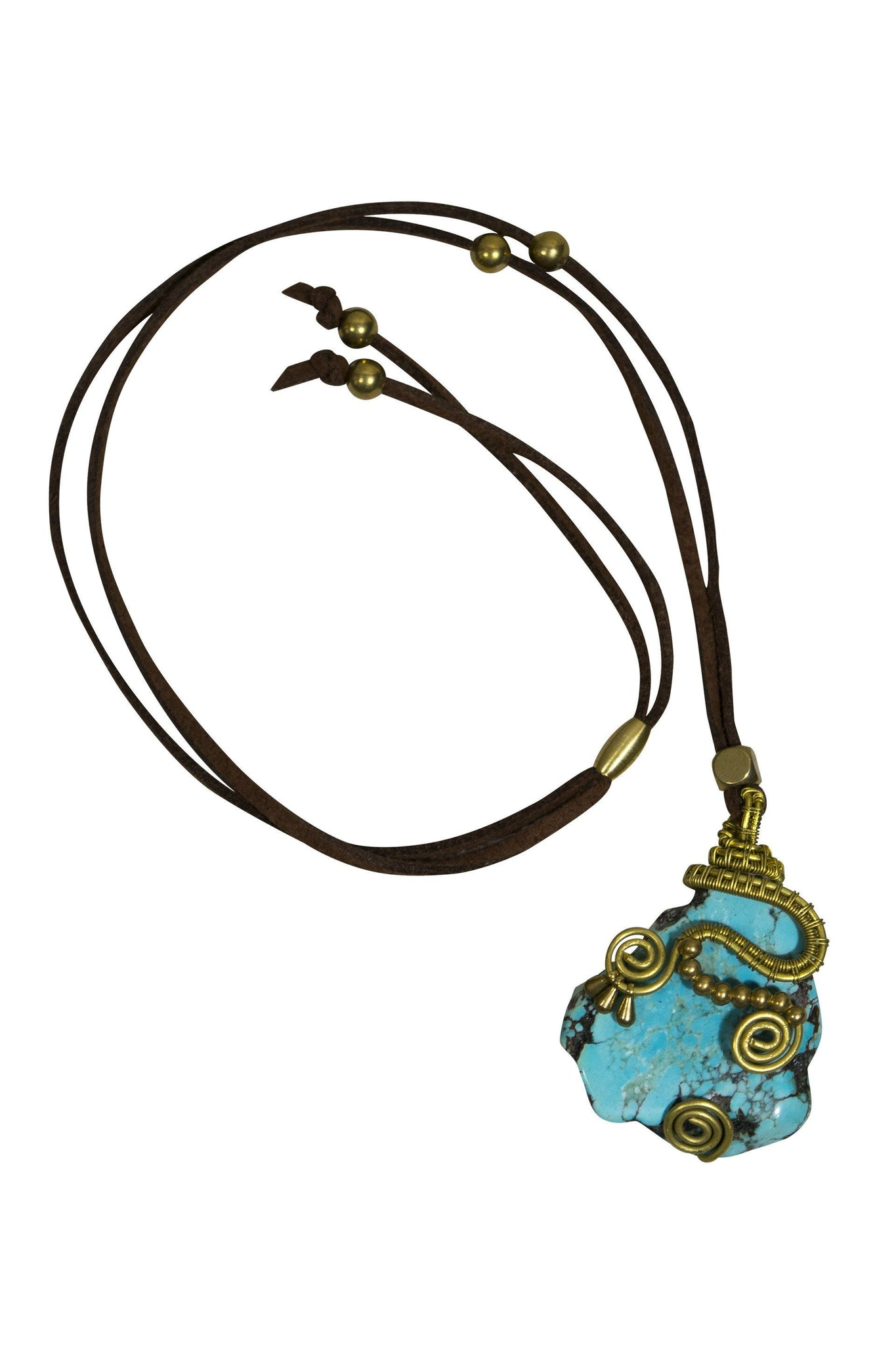 Necklace Boho Leather Strap Look Alike Rock Gold Wire - CCCollections