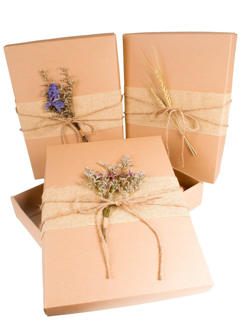 Handmade Craft Gift Wrap Boxes Hemp Rope With Dry Flowers - CCCollections