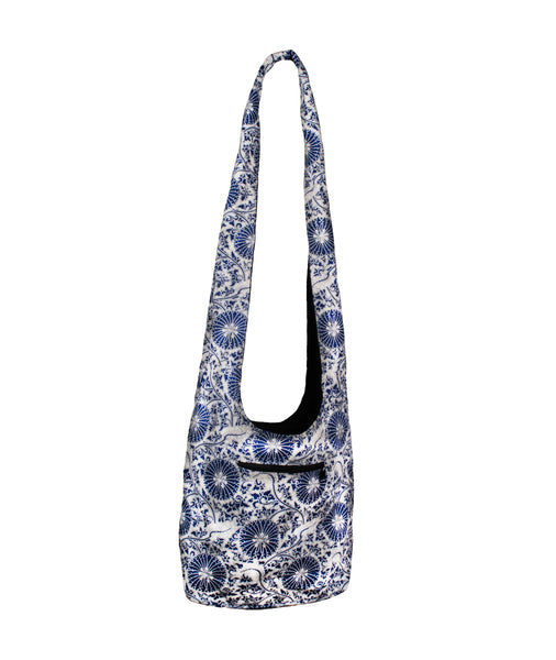 Sling Bag YAM Crossed Body Calico Cotton Fabric - Hippie Indigo - CCCollections