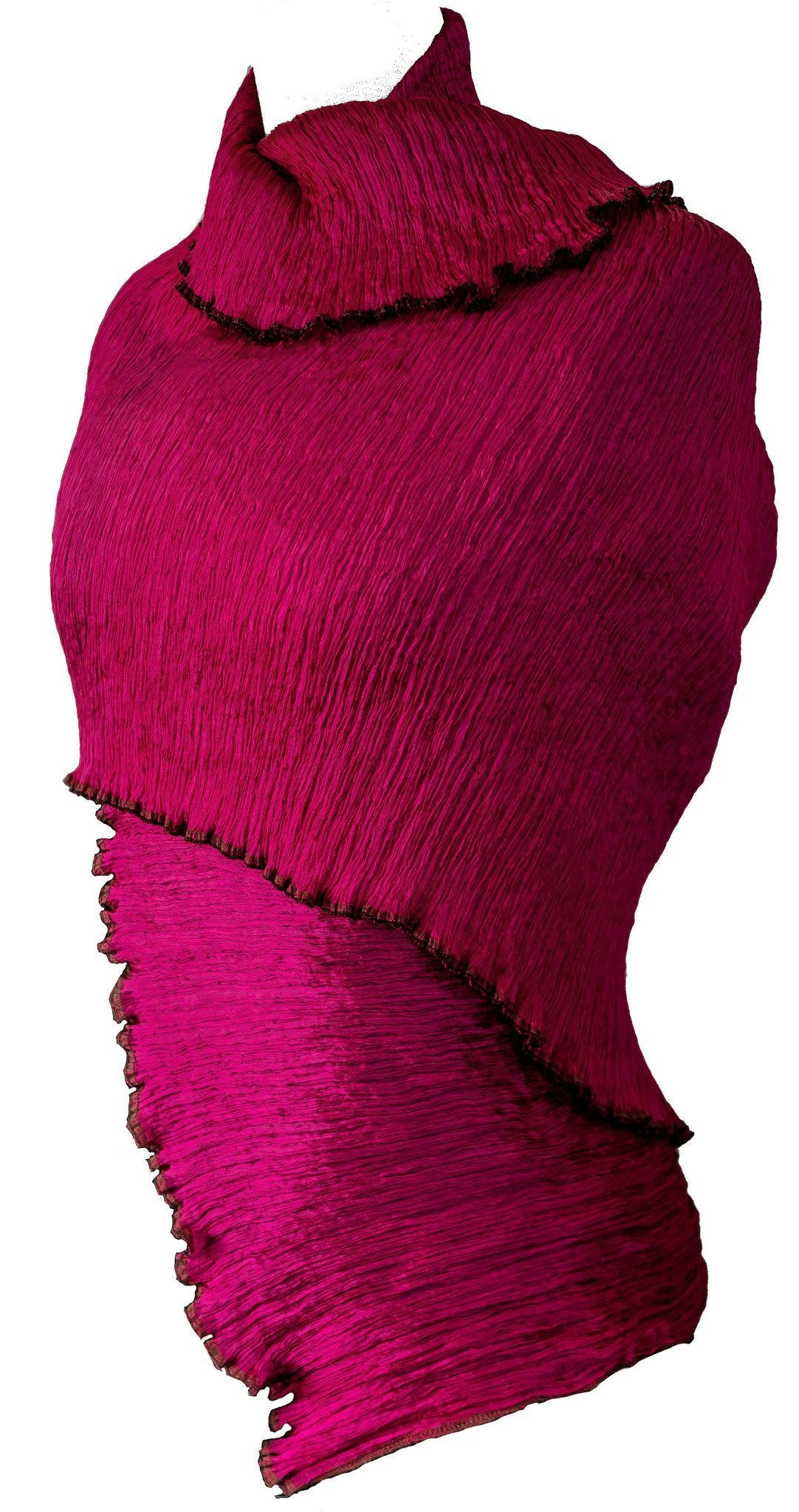 Pure Silk Pleated Stole / Shawl Wrap - CCCollections