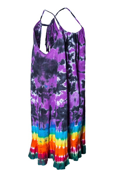 Tie Dye Halter Neck Mini Dress Pom Pom Bow tie details - CCCollections