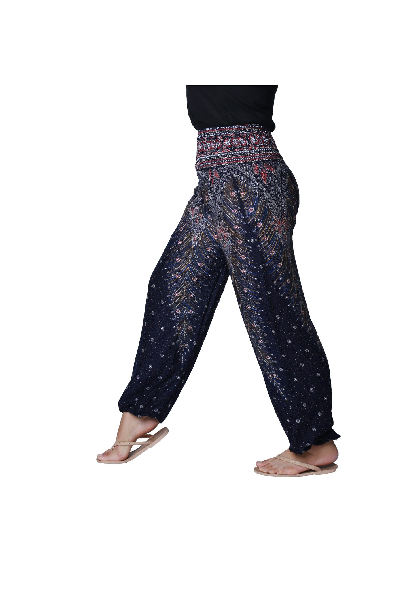 Smocked Waist Pyjama Side Pocket yoga lounge Trousers Pantaloon slack - CCCollections
