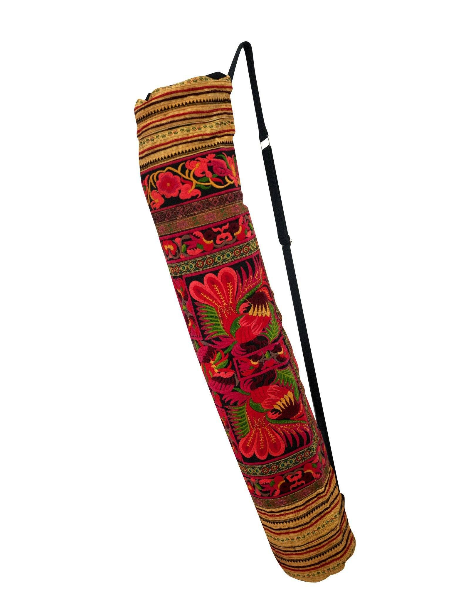 Bohemian Yoga Mat Bag Carrier Embroidered Hill tribe ethnic  L - CCCollections