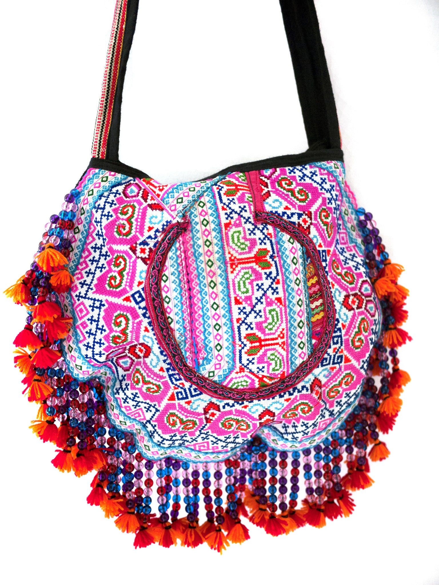 Handmade Hill Tribe Bags with bead work (NC-Crossed body- One Side- embroidery) - CCCollections