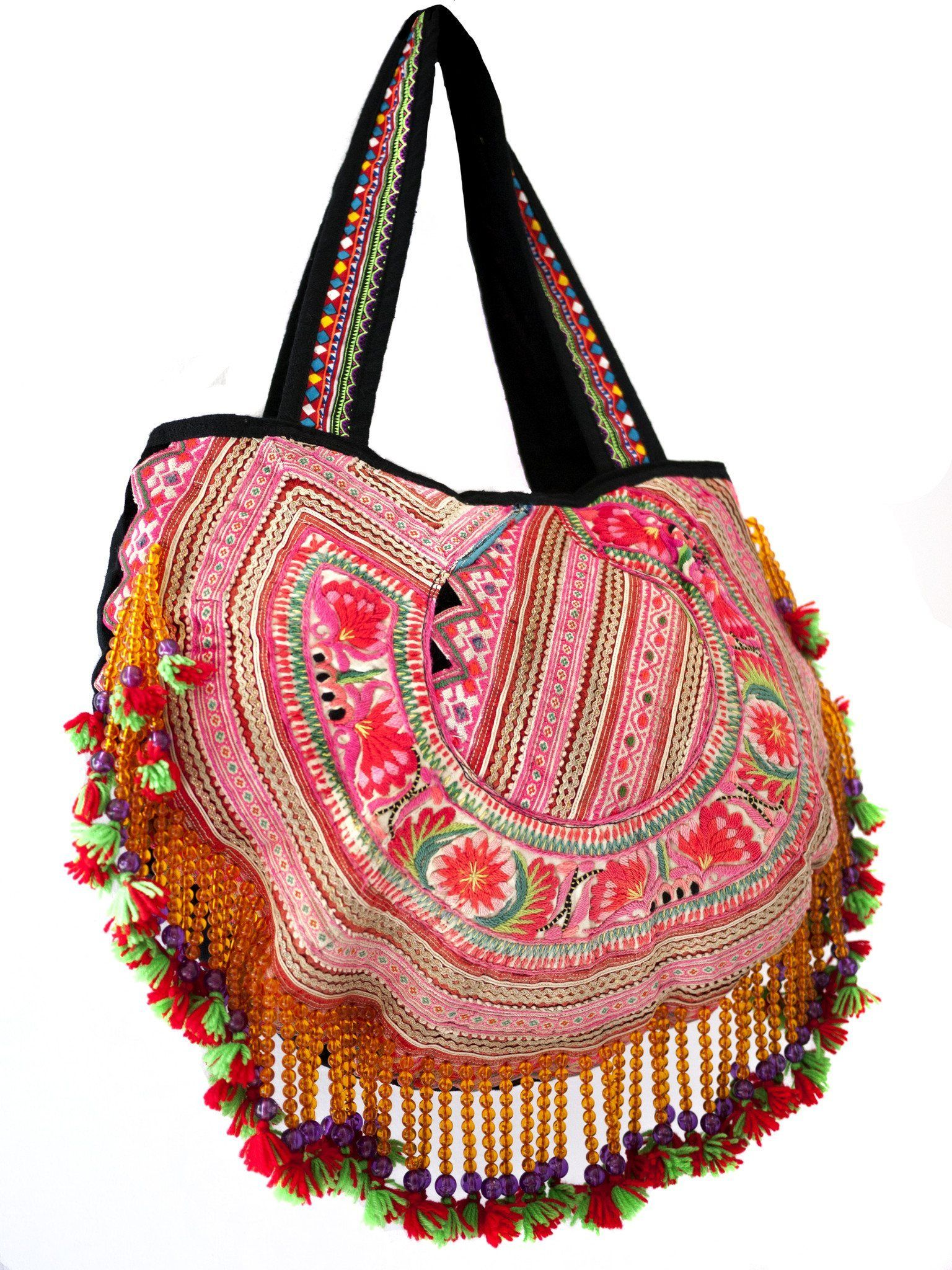 Handmade Hill Tribe Bags with bead work (NS-Shoulder - Embroidery One Side) - CCCollections