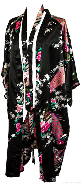 Kimono Peacock - CCCollections dressing gown robe silk smooth loungewear black