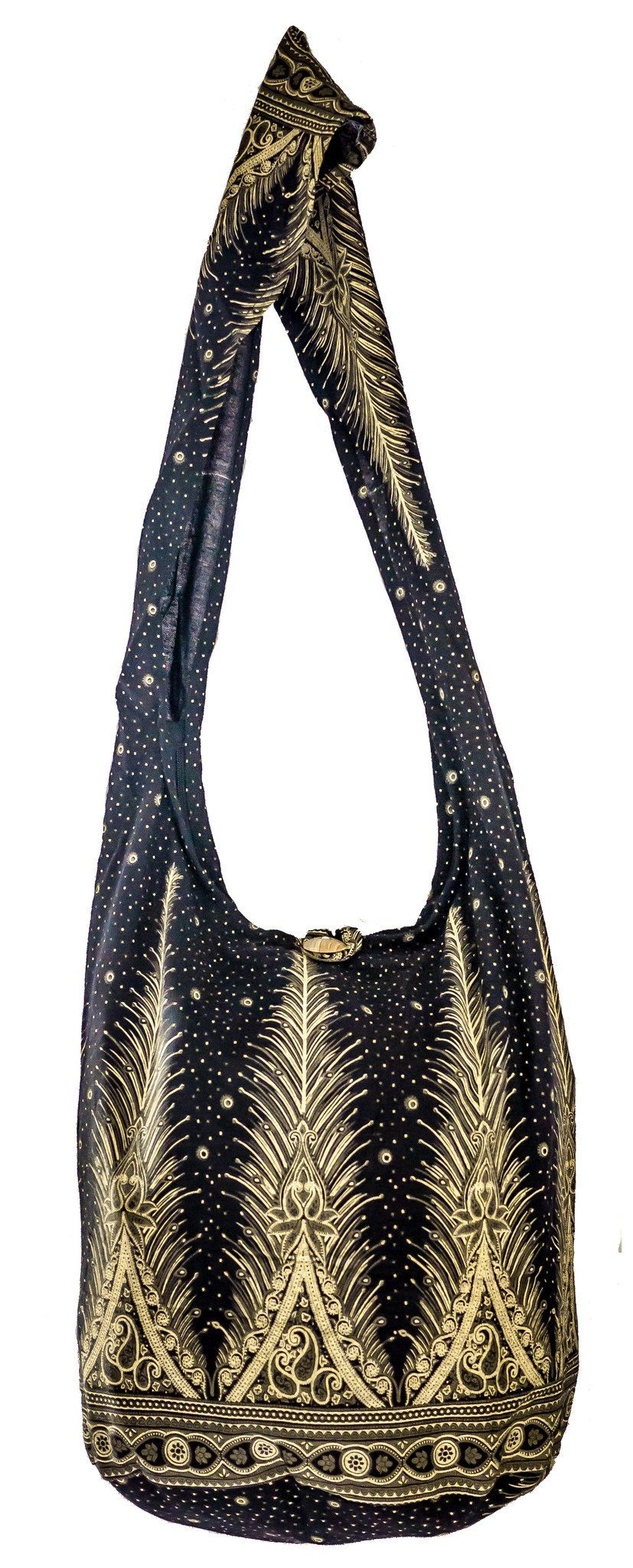 SLING GRAPHIC Feather Bag COTTON CROSS BODY bag LARGE BOHO hippie hobo - CCCollections