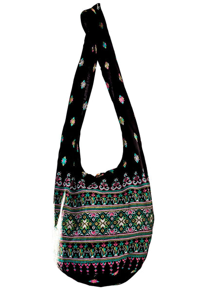 SLING GRAPHIC CHRISTMAS COLOURS Bag COTTON 40 PRINTs CROSSBODY bag LARGE BOHO hippie hobo - CCCollections
