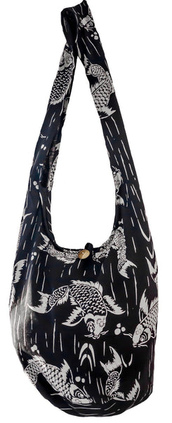 SLING Koi fish Bag COTTON CROSS BODY bag LARGE BOHO hippie hobo - CCCollections