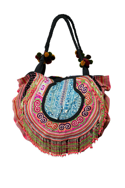 Vintage Collar Fabric Bohemian Round Beads & Embroidery Bag - Two Side - CCCollections