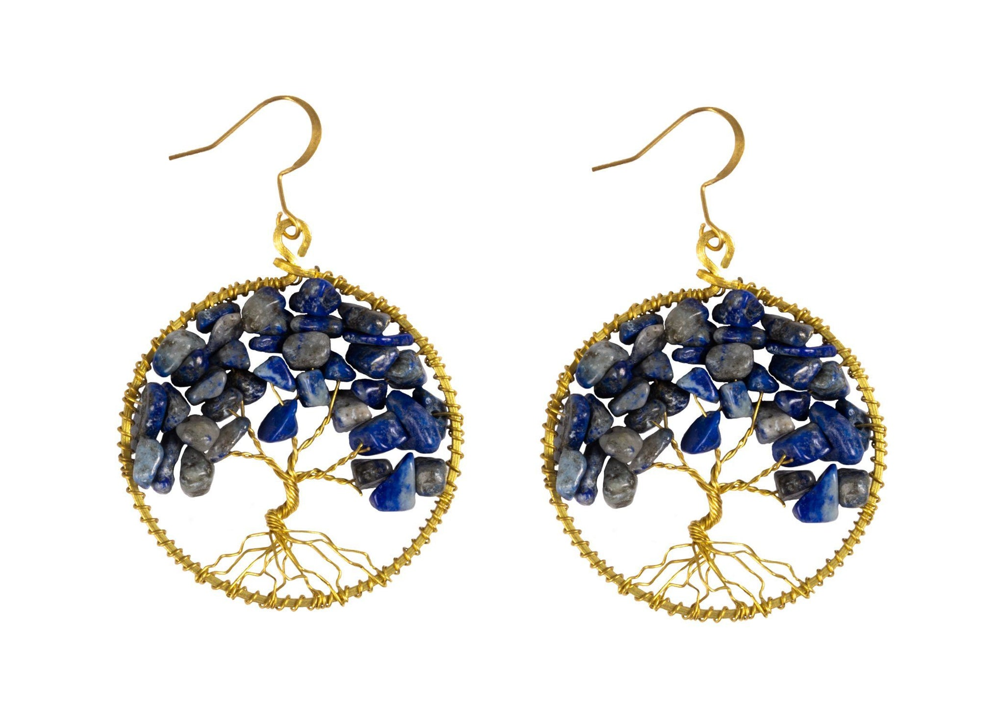 Handmade Earring Tree of Life Brass Circle Shape with Bead, Crystal and Stone - CCCollections