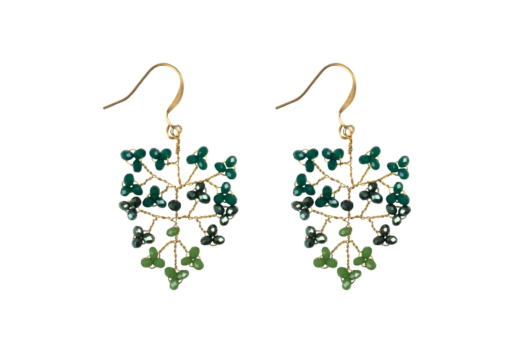 Handmade Earring Crystal Brass Shrub Shape - CCCollections