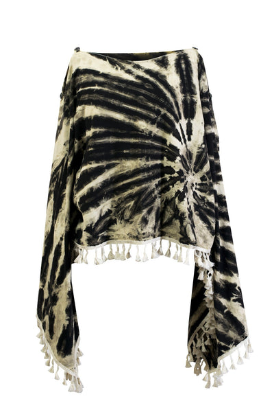 Tie Dye 2in1 Top Poncho Wrap with Fringed Pom Pom Tassel Colourful - CCCollections