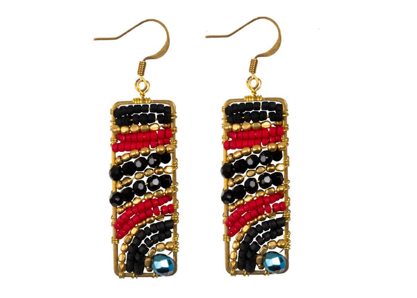 Handmade Drop Earring Brass Colourful Rectangle, Drop Tear and Leaves Shape with Crystal - CCCollections