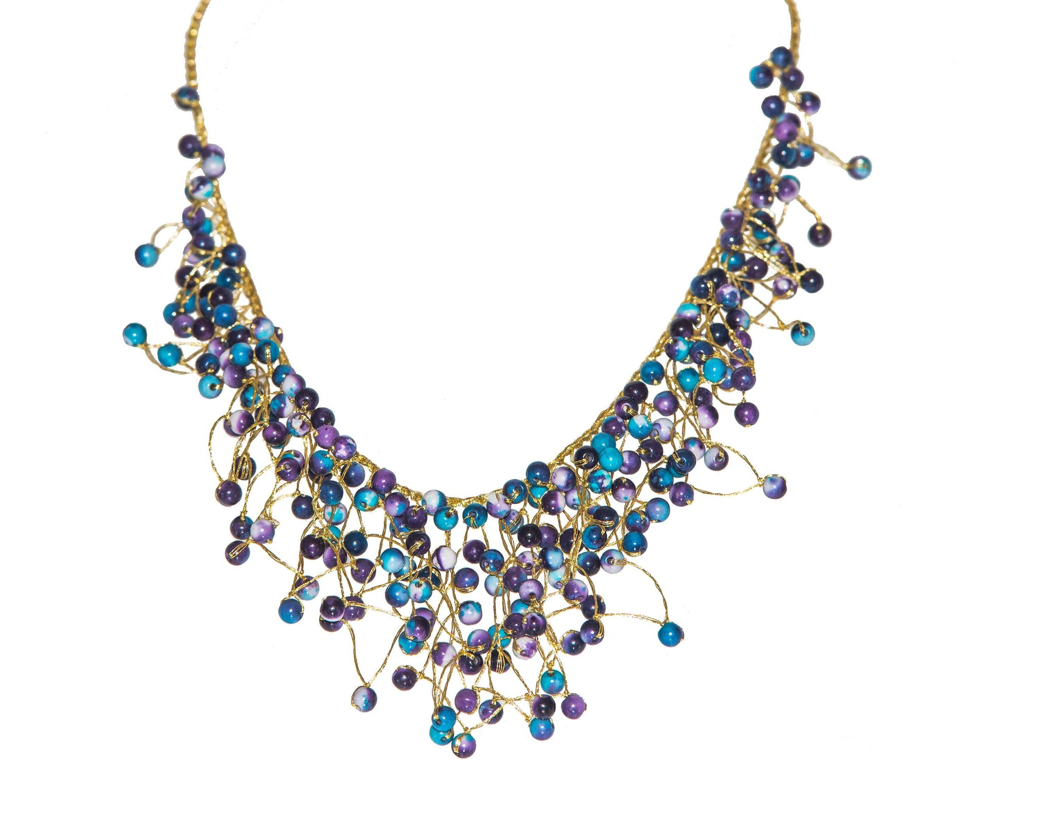 Necklace Metalic Yarn with Stone Crystal and Stone Bead - CCCollections