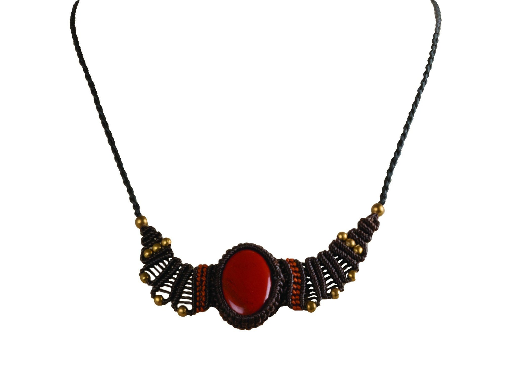 CCcollections Handmade Macrame Necklace Waxcord with Brass Beaded and Stone - CCCollections