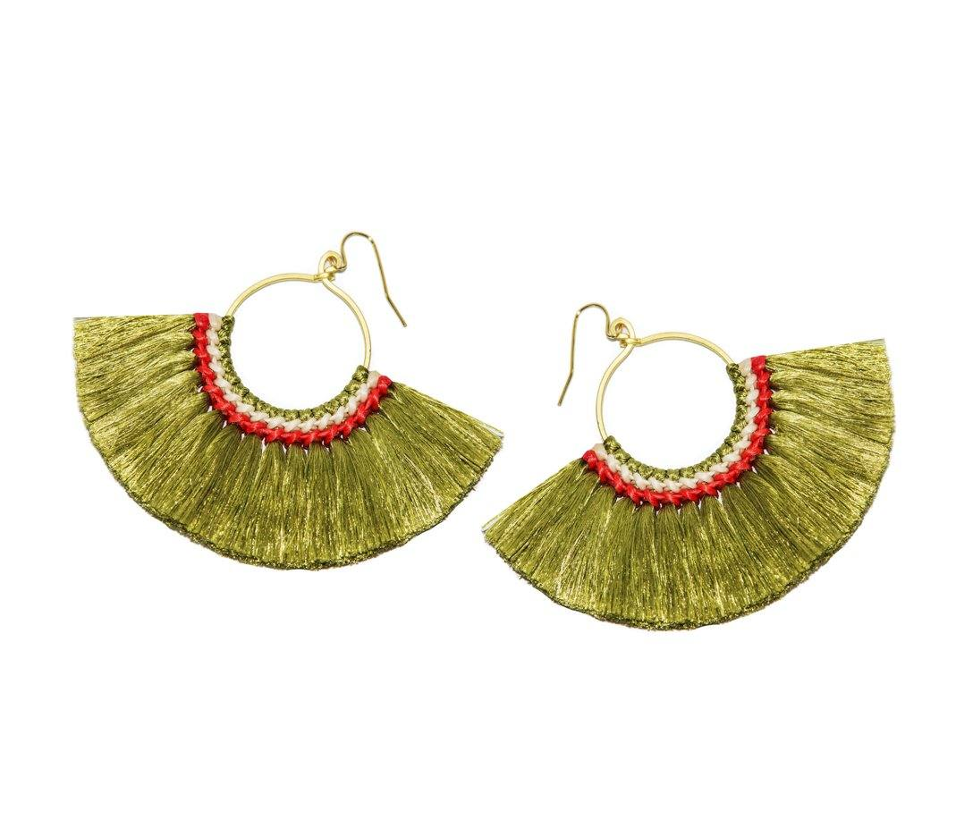 Handmade Earring Cotton Tassel Colourful Brass Loop Shape - CCCollections