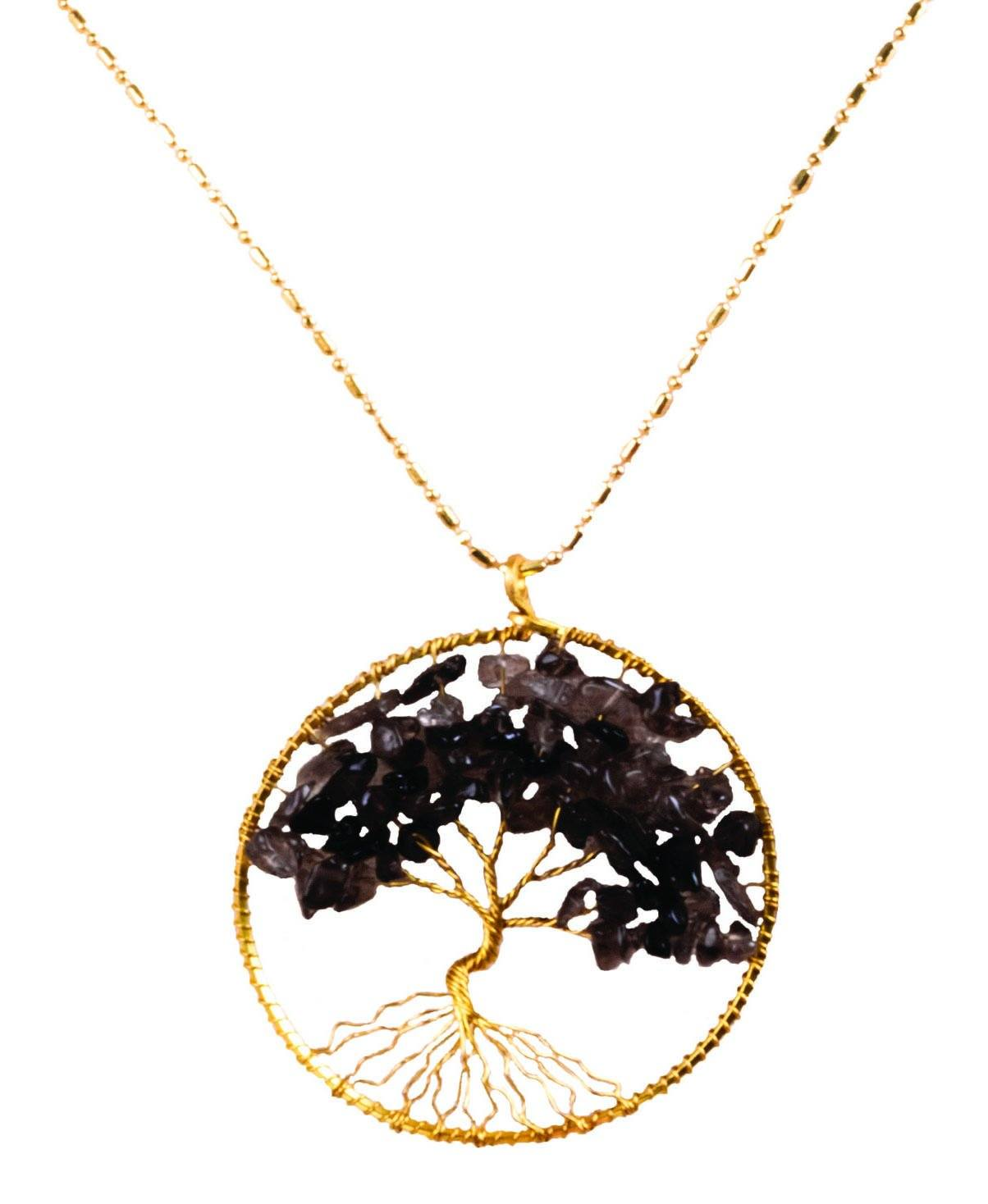 Handmade Necklace Tree of Life Brass with Bead, Crystal and Stone - CCCollections