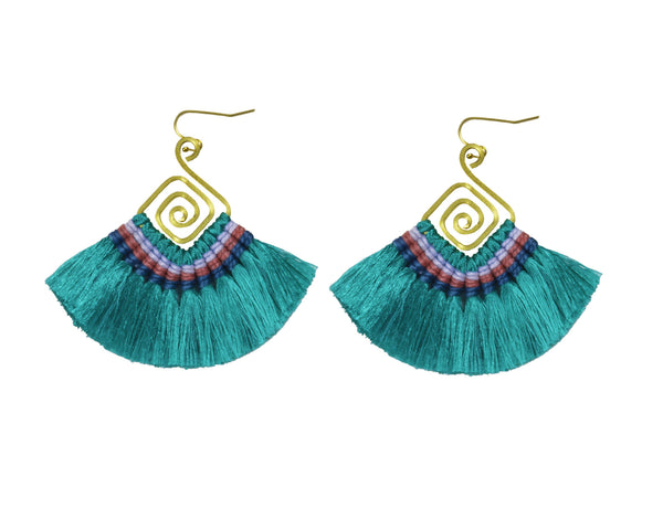 Handmade Earring Cotton Tassel Colourful Brass Spiral Shape - CCCollections