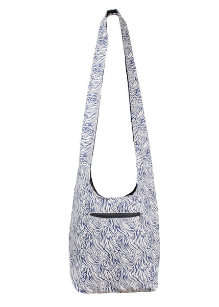 Sling Bag Crossed Body Calico Cotton Fabric - Hippie Indigo - CCCollections