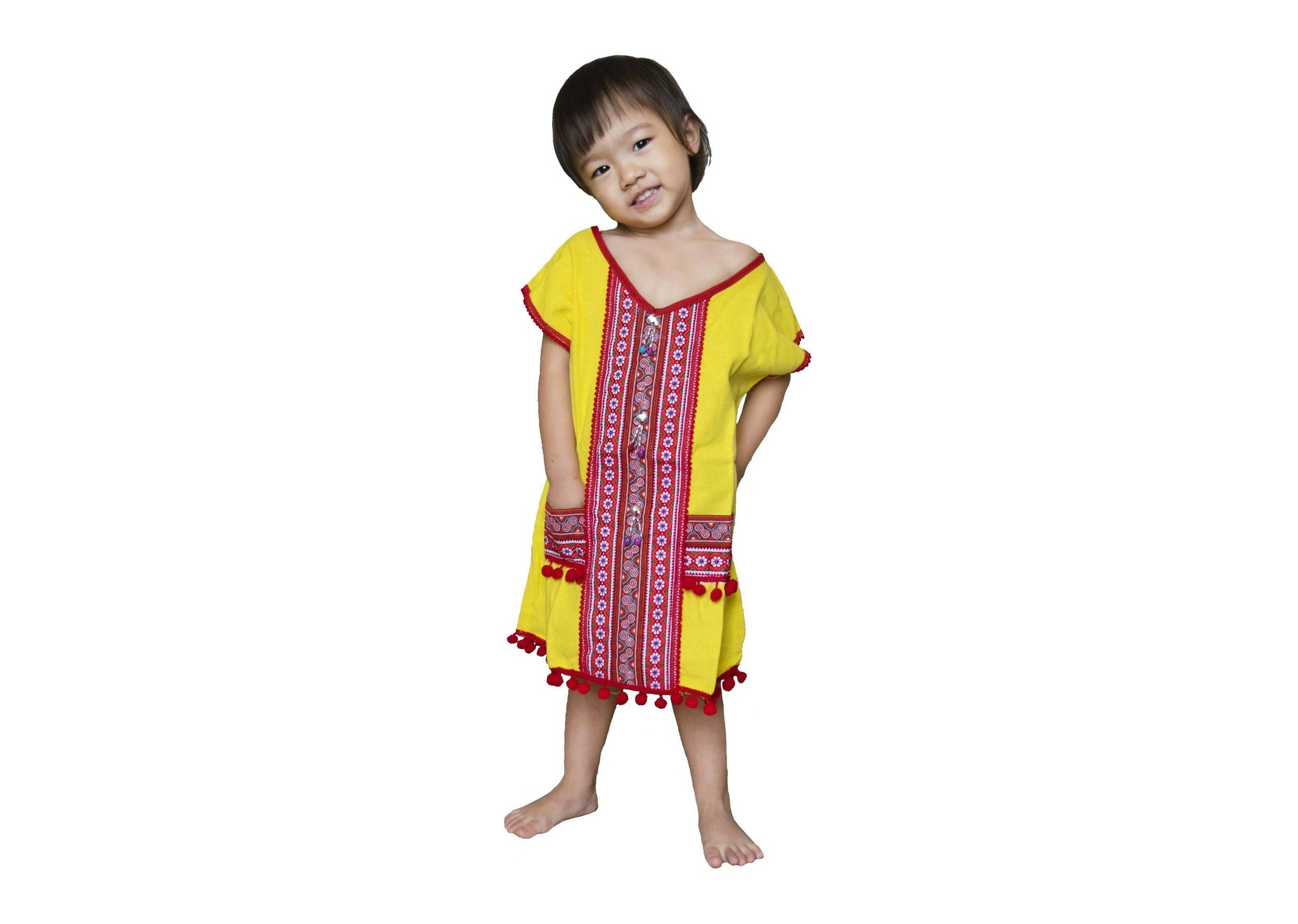 CCcollections Handmade Kids Hill Tribe Dress Short - Sleeve Northern Thai Native Pattern - CCCollections