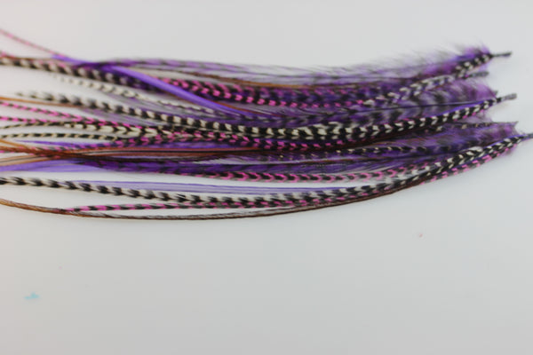 Feather Hair Extensions Five Purple & Violet 4''-6 Mix with Natural Browns Quality Salon Feathers for Hair Extension! - Sexy Sparkles Fashion Jewelry - 1