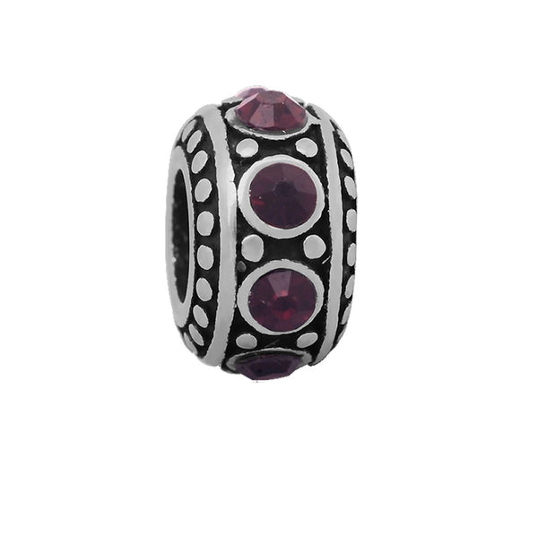 Sexy Sparkles Stainless Steel Purple Birthstone Spacer Round Charm Bead
