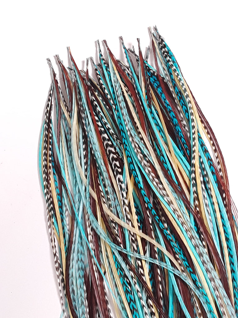 7 10 Turquoise With Genuine Grizzly Brown Long Thin Feathers For