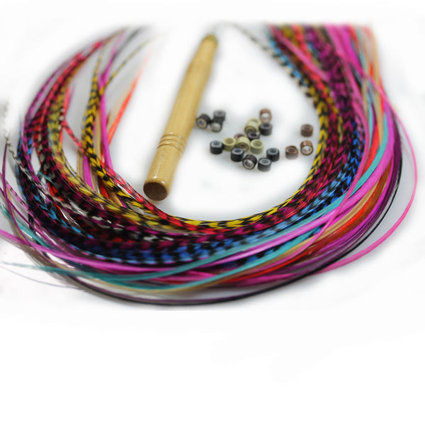 Feather Hair Extensions, 100% Real Rooster Feathers, Long Rainbow Colors, 20 Feathers with Beads and Loop Tool Kit - Sexy Sparkles Fashion Jewelry - 1